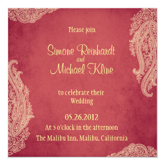 Hindu Wedding Invitation, Mehndi red and gold Card