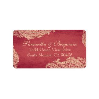 Hindu Wedding Mehndi Address Labels red and gold