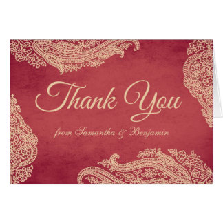 Hindu Wedding Mehndi Thank You Card red and gold