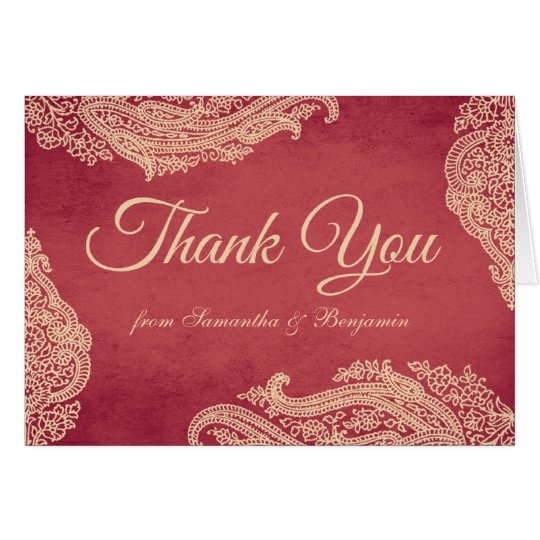 Hindu Wedding Mehndi Thank You Card red and