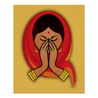 Hindu Woman with Head Scarf in Namaste Greeting Poster
