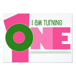 Hip 1st Birthday Invitations-Pink/Green 13 Cm X 18 Cm Invitation Card