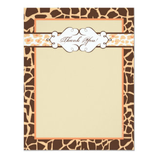 Hip and Chic Animal Print Note Card: Orange Card