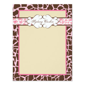 Hip and Chic Animal Print Note Card: Pink Card