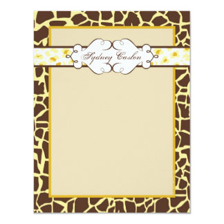 Hip and Chic Animal Print Note Card: Yellow Card