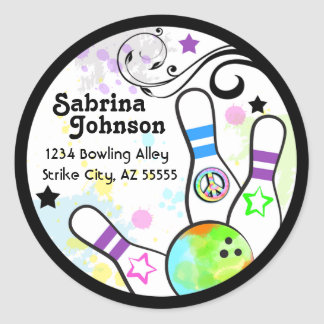 Hip and Colorful Bowling Address Label Round Sticker