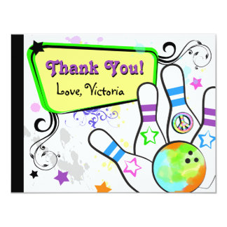 Hip and Colorful Bowling Note Card 11 Cm X 14 Cm Invitation Card