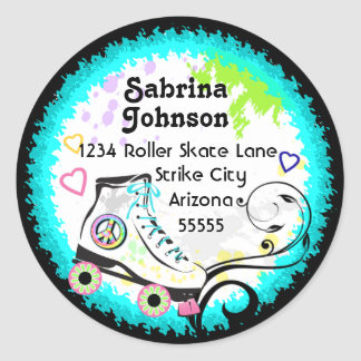 Hip and Colorful Roller Skate Address Label Round Sticker