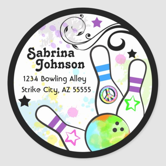 Hip and Colourful Bowling Address Label Round Sticker