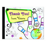 Hip and Colourful Bowling Note Card Invitations