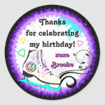 Hip and Colourful Ice Skate Gift Label Round Stickers