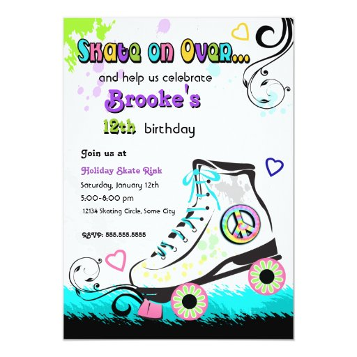 Hip and Colourful Roller Skate Invitation