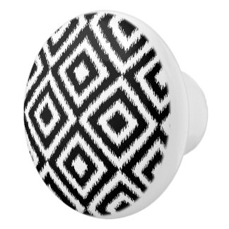 Hip Black White Ikat Diamond Square Mosaic Pattern Ceramic Knob