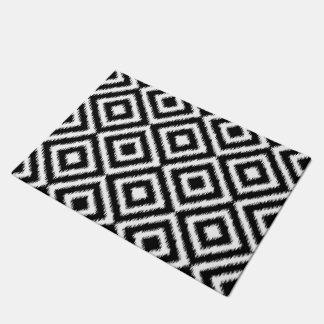 Hip Black White Ikat Diamond Square Mosaic Pattern Doormat