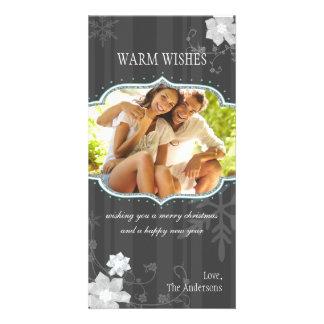 Hip Black White Winter Holiday Family Photocards Custom Photo Card