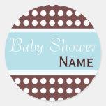 Hip Blue and Brown Baby Shower Sticker
