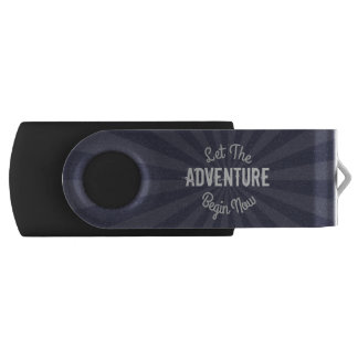Hip Blue Let The Adventure Begin Now Starburst Swivel USB 3.0 Flash Drive