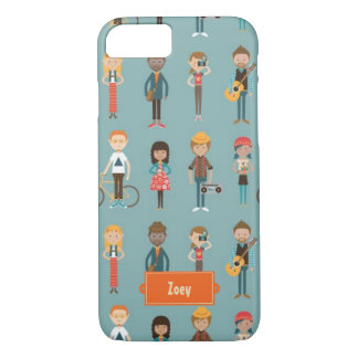 Hip Cartoon People Illustrations Pattern (Blue) iPhone 7 Case