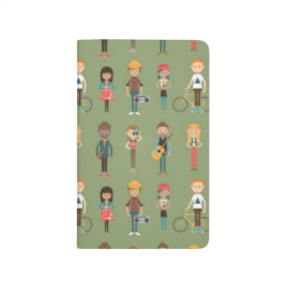 Hip Cartoon People Illustrations Pattern (Green) Journal