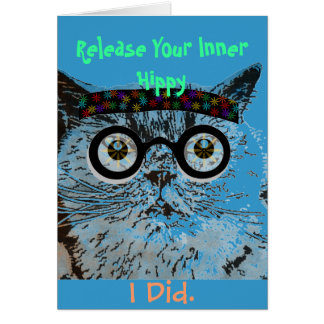 Hip Cat Hippy Birthday Greeting Card