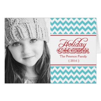 Hip Chevron Holiday Cheer Folded Christmas Greeting Card