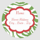Hip Christmas Address Lables Round Stickers