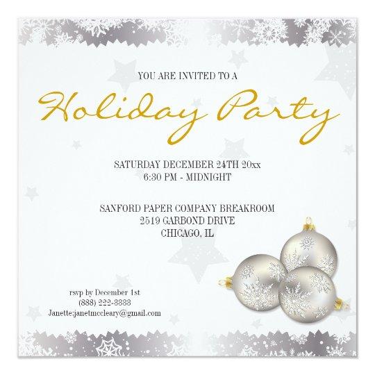 Hip Christmas Holiday Party Snowflake Invitations