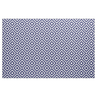 Hip Dark Blue Ikat Diamond Squares Mosaic Pattern Fabric
