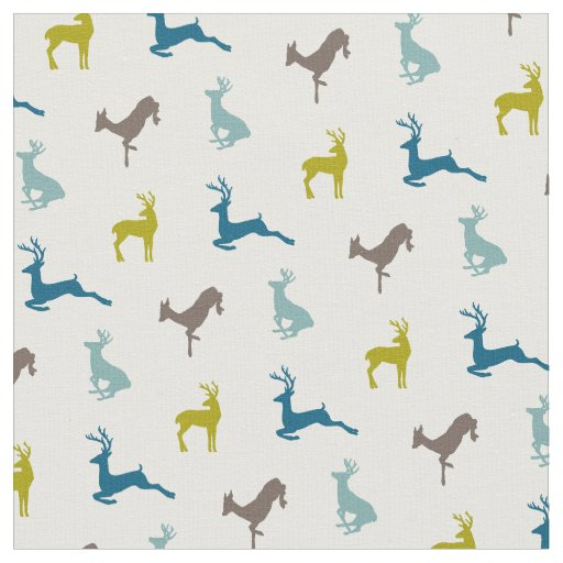 Hip Deer Pattern in Retro Colours Fabric