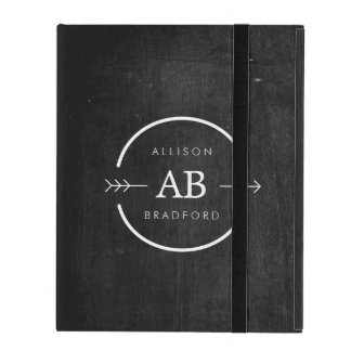 HIP & EDGY MONOGRAM LOGO with ARROW on BLACK WOOD iPad Cases