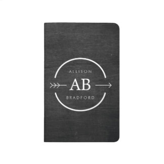 HIP & EDGY MONOGRAM LOGO with ARROW on BLACK WOOD Journal