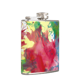 Hip Flask Colourful Paint Splatter