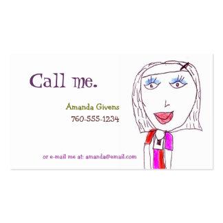 Hip Girl (Child Illustration) Calling Cards Pack Of Standard Business Cards
