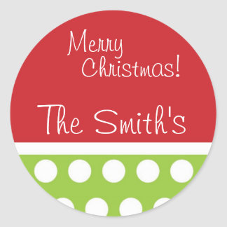 Hip Green and Red Personalized Christmas Stickers