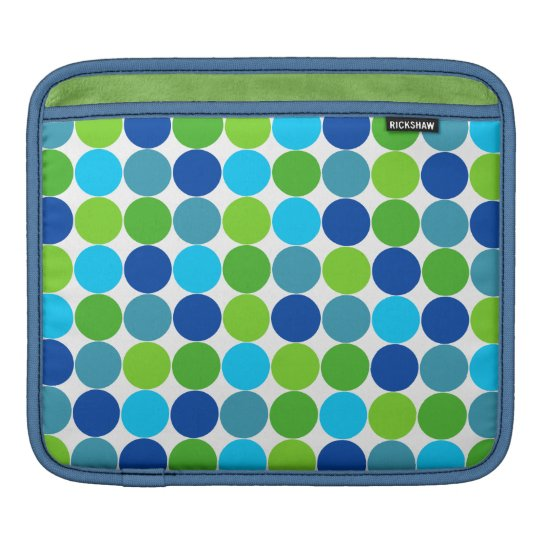 Hip Green Blue Polka Dot iPad Sleeve
