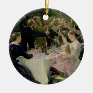 Hip Hip Hurrah! Artists' Party at Skagen, 1888 Round Ceramic Decoration