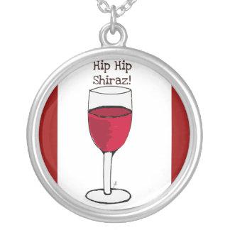 """HIP HIP SHIRAZ!"" RED WINE PRINT ROUND PENDANT NECKLACE"