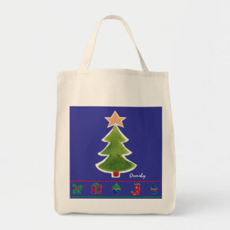 Hip-Holidays-xmas tree- tote Bags