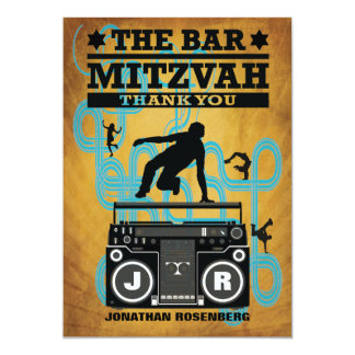 "Hip Hop Bar Mitzvah Thank You Card 5"" X 7"" Invitation Card"