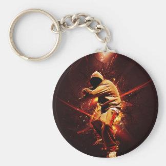 hip-hop breakdancer on fire basic round button key ring