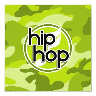 Hip Hop; bright green camo, camouflage 13 Cm X 13 Cm Square Invitation Card