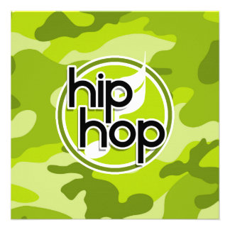 Hip Hop bright green camo camouflage Personalized Invite