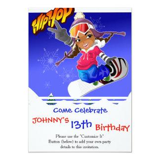 Hip Hop Cartoon Girl on Snowboard 13 Cm X 18 Cm Invitation Card