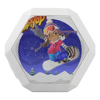 Hip Hop Cartoon Girl on Snowboard