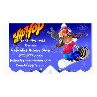 Hip Hop Cartoon Girl on Snowboard Pack Of Standard Business Cards