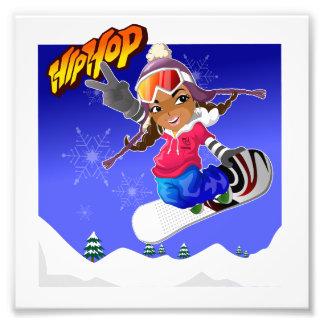 Hip Hop Cartoon Girl on Snowboard Photo Print