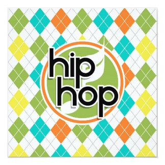 Hip Hop; Colorful Argyle Pattern 13 Cm X 13 Cm Square Invitation Card