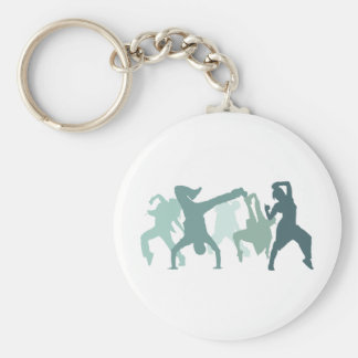 Hip Hop Dancers Illustration Basic Round Button Key Ring