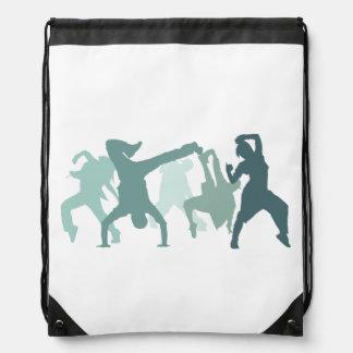 Hip Hop Dancers Illustration Drawstring Bag