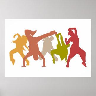 Hip Hop Dancers Illustration Poster